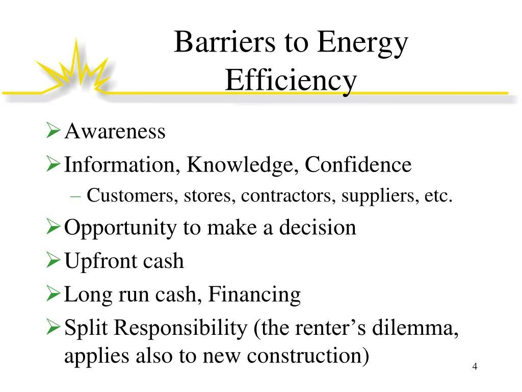 Barriers to Energy Efficiency