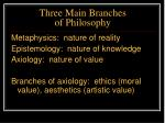 three main branches of philosophy