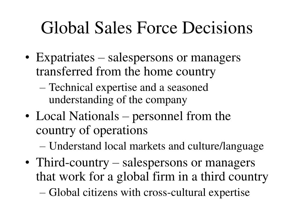 Global Sales Force Decisions