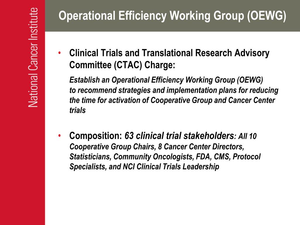 Operational Efficiency Working Group (OEWG)