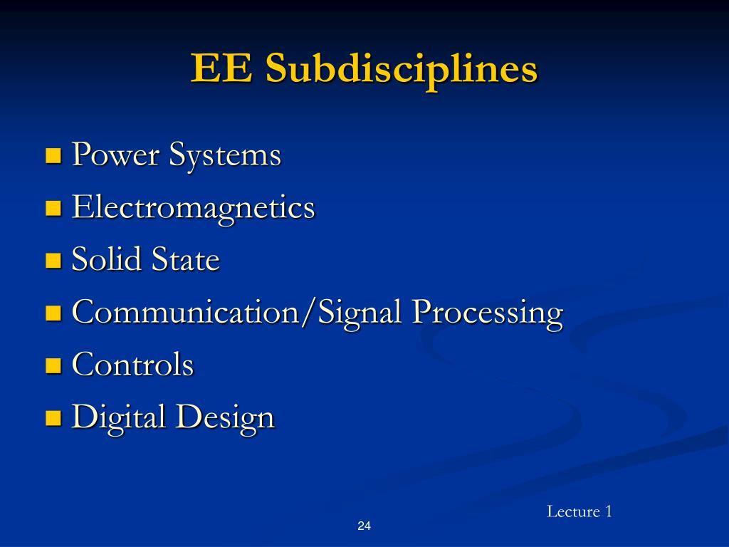EE Subdisciplines