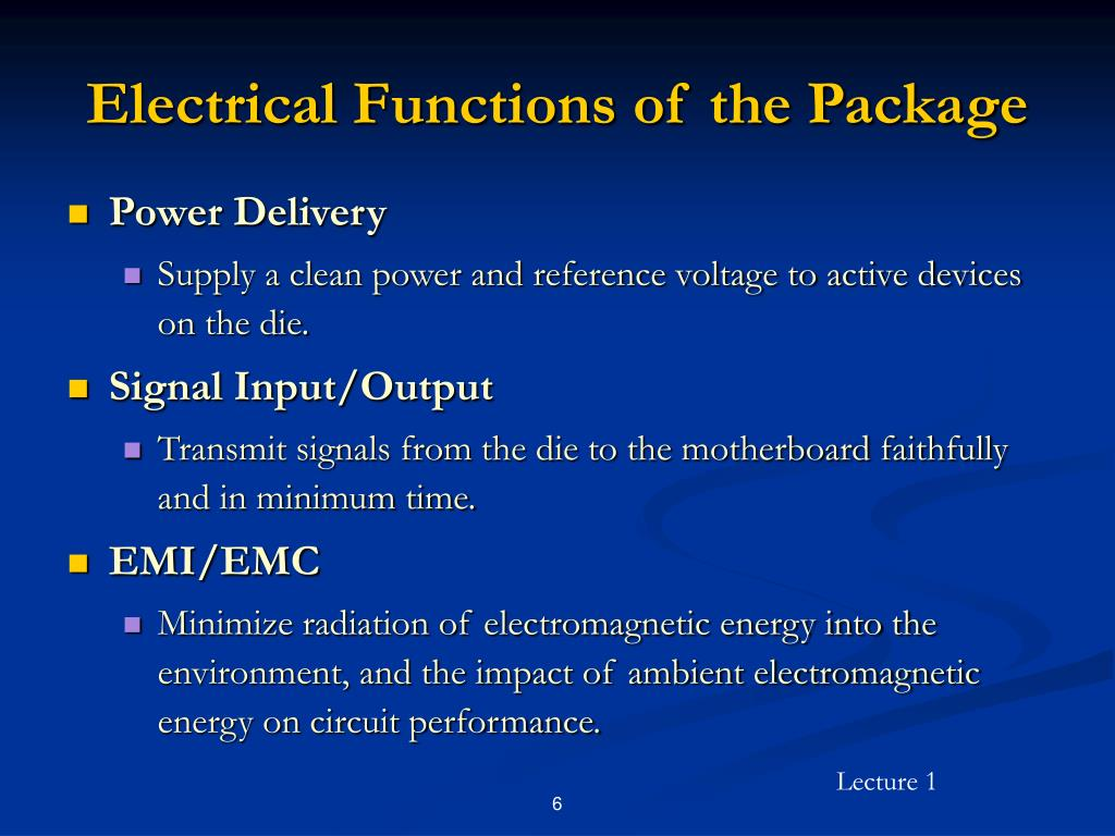 Electrical Functions of the Package