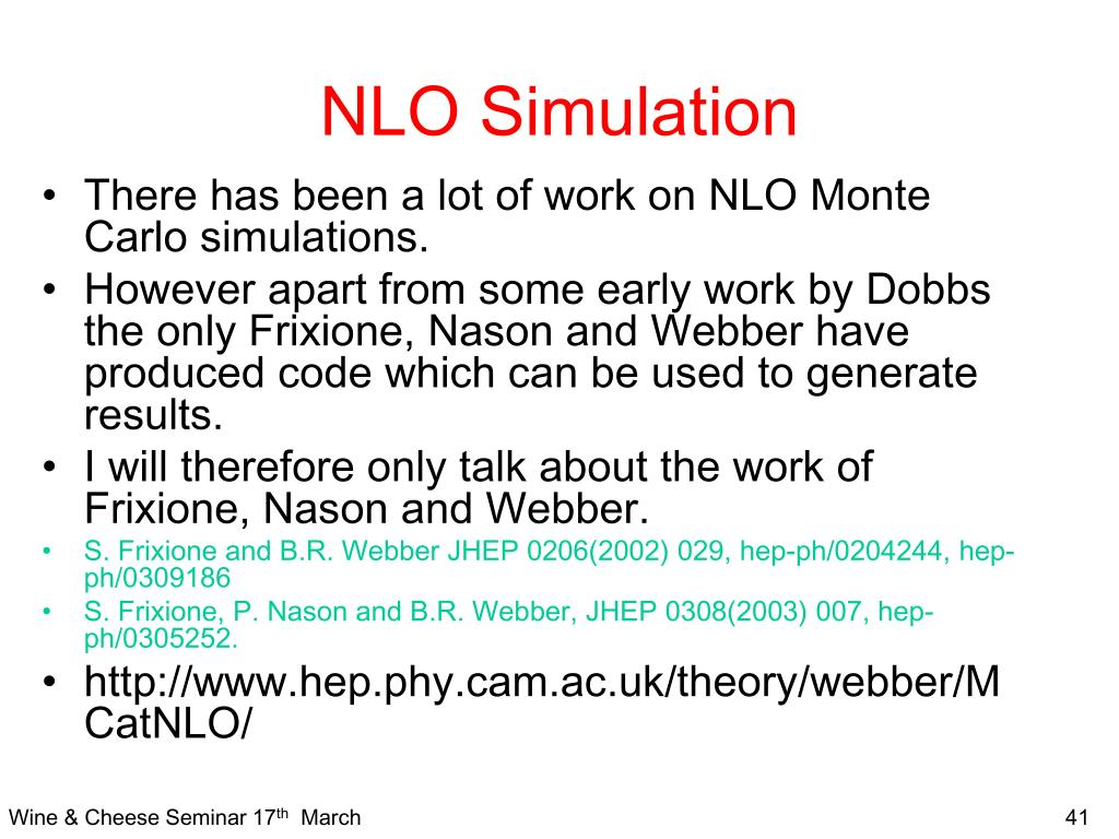 NLO Simulation