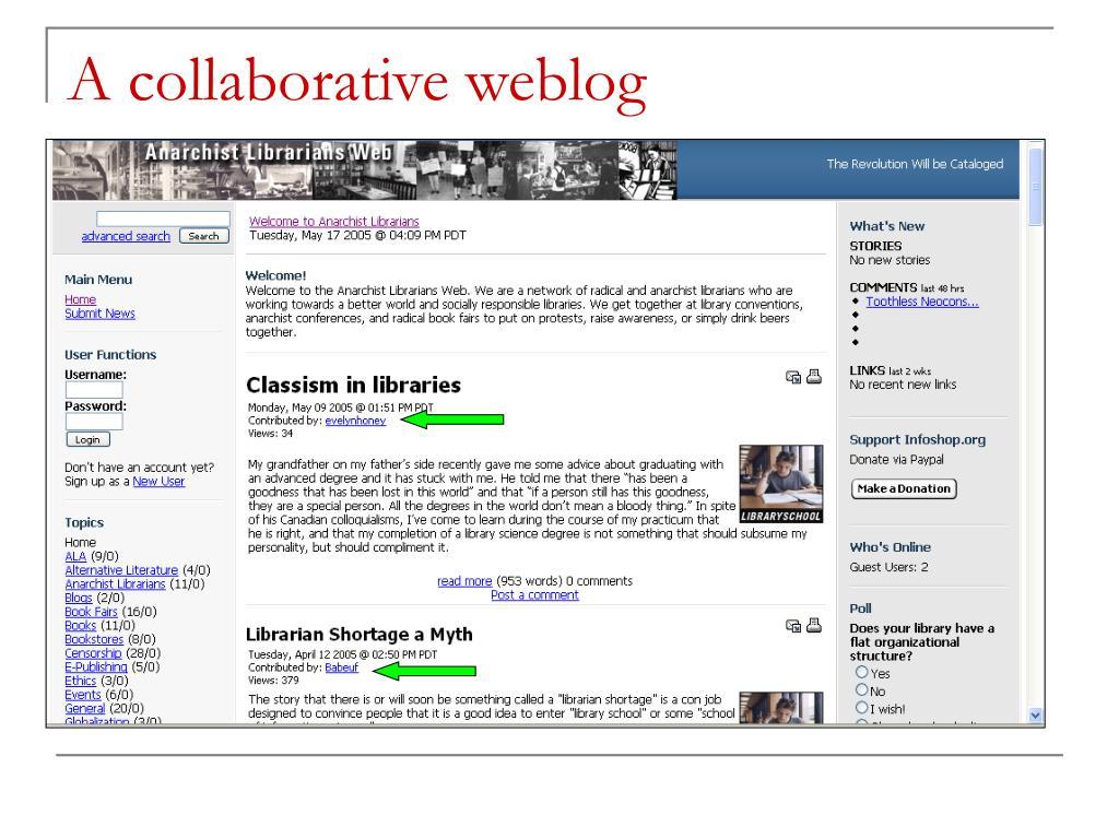 A collaborative weblog