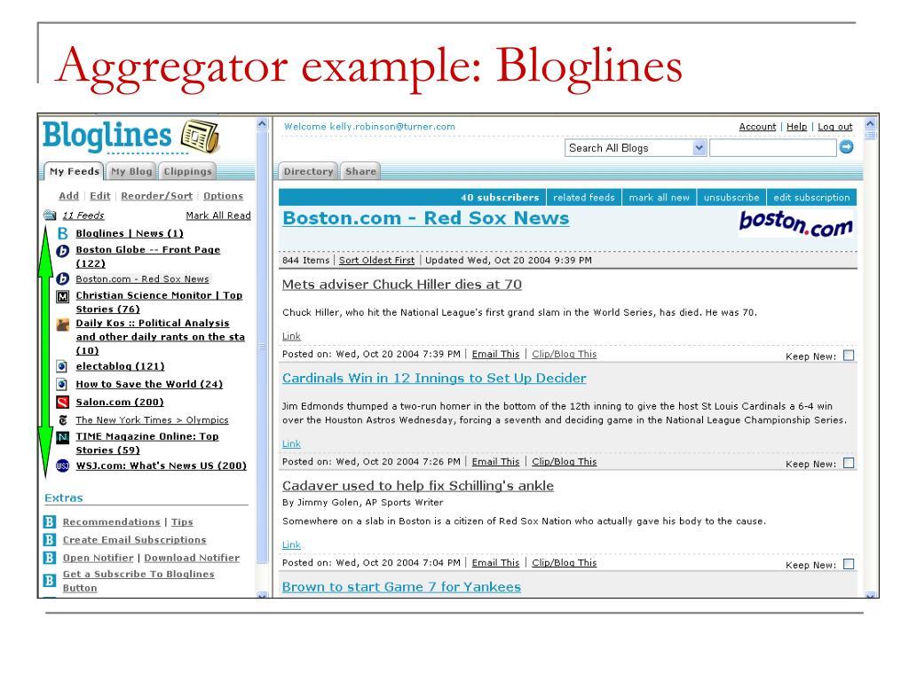 Aggregator example: Bloglines