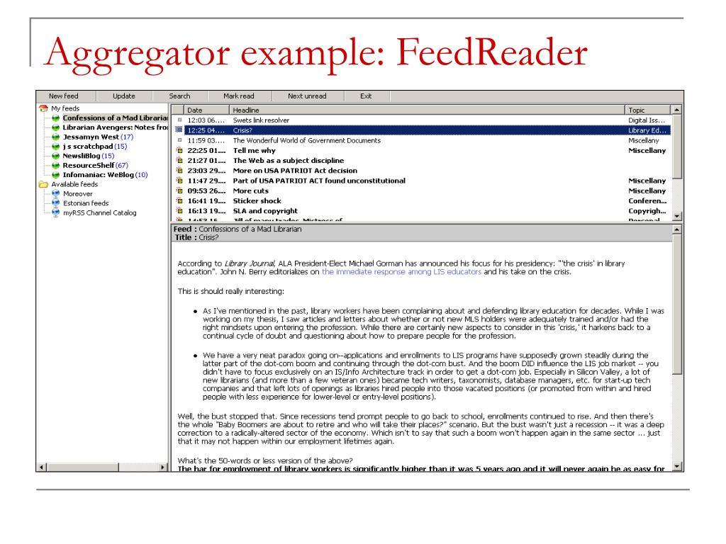 Aggregator example: FeedReader