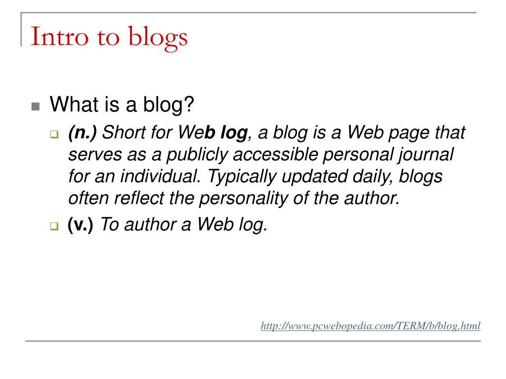 Intro to blogs