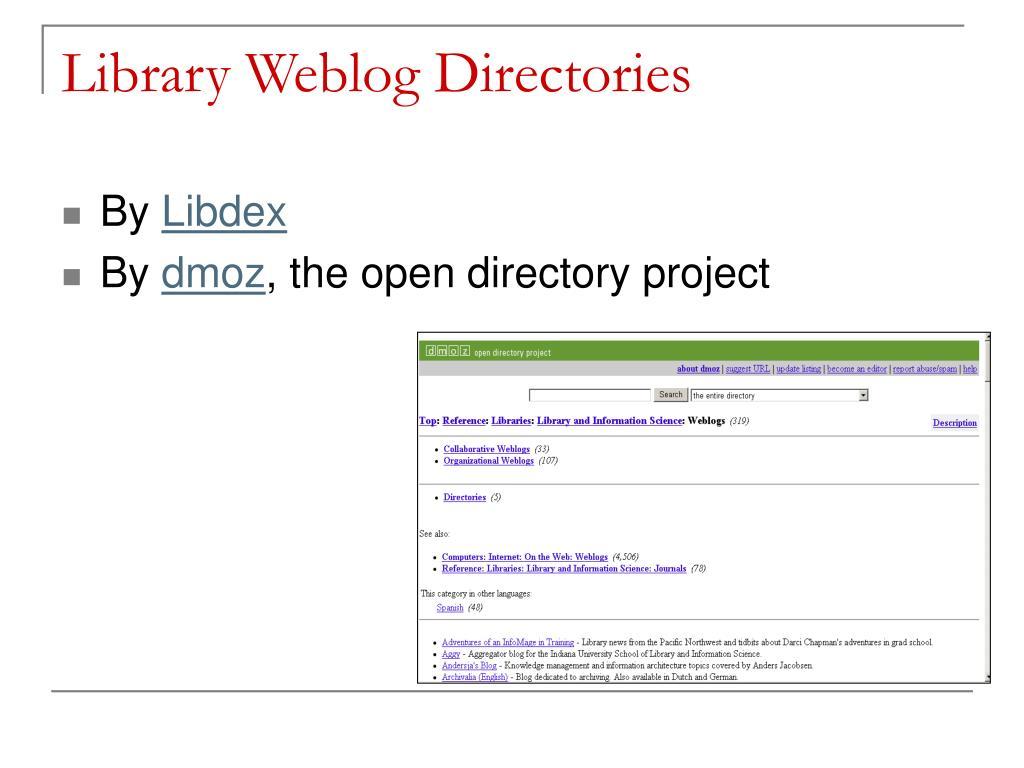 Library Weblog Directories
