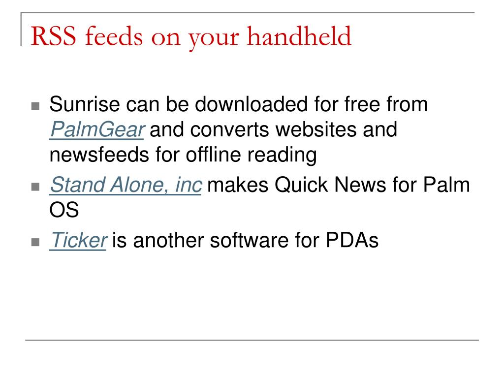 RSS feeds on your handheld