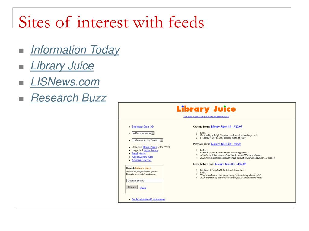 Sites of interest with feeds