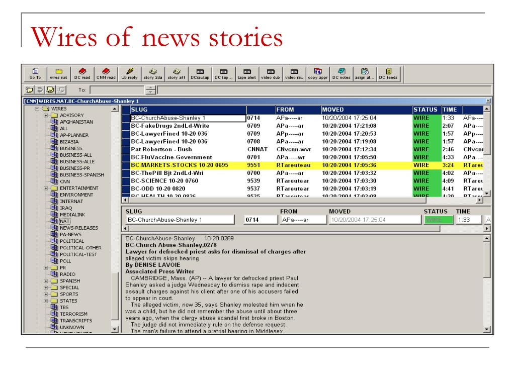 Wires of news stories