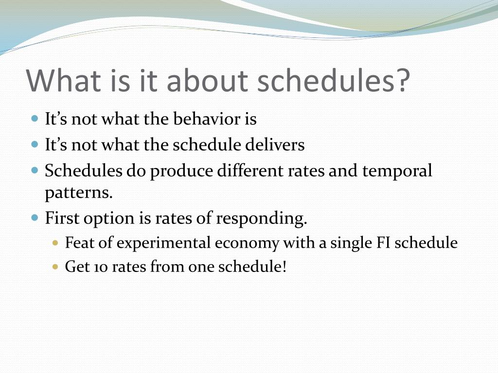 What is it about schedules?