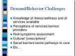 demand behavior challenges