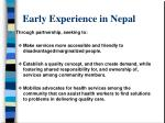 early experience in nepal