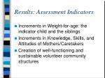 results assessment indicators