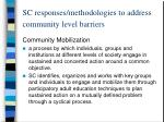 sc responses methodologies to address community level barriers