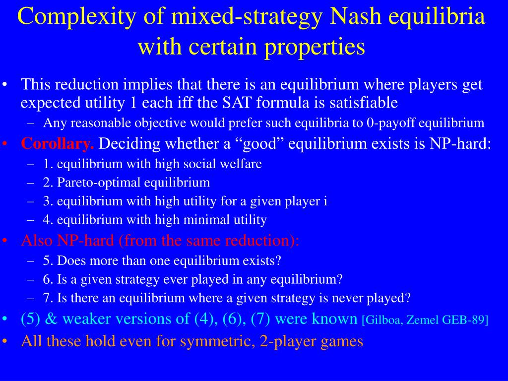 Complexity of mixed-strategy Nash equilibria with certain properties