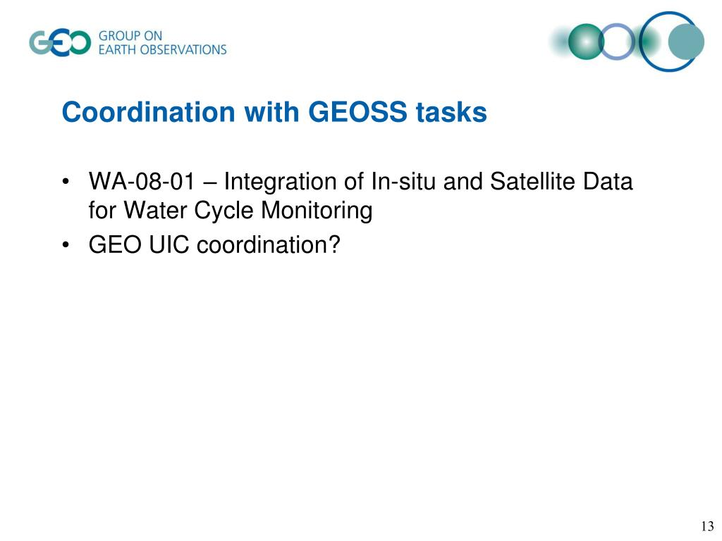 Coordination with GEOSS tasks