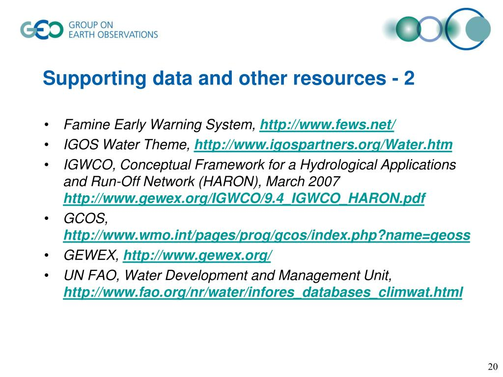 Supporting data and other resources - 2