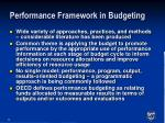 performance framework in budgeting