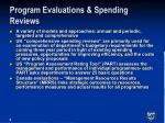 program evaluations spending reviews