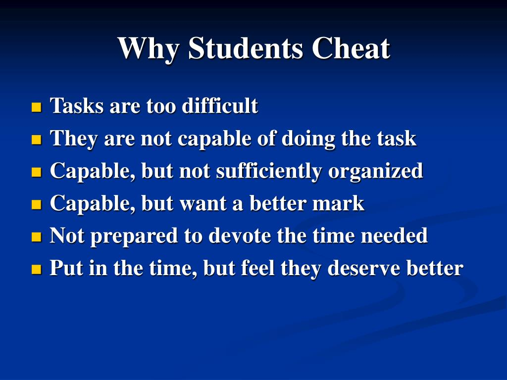 Why Students Cheat