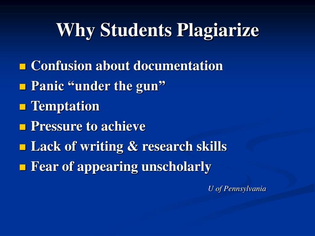 Why Students Plagiarize
