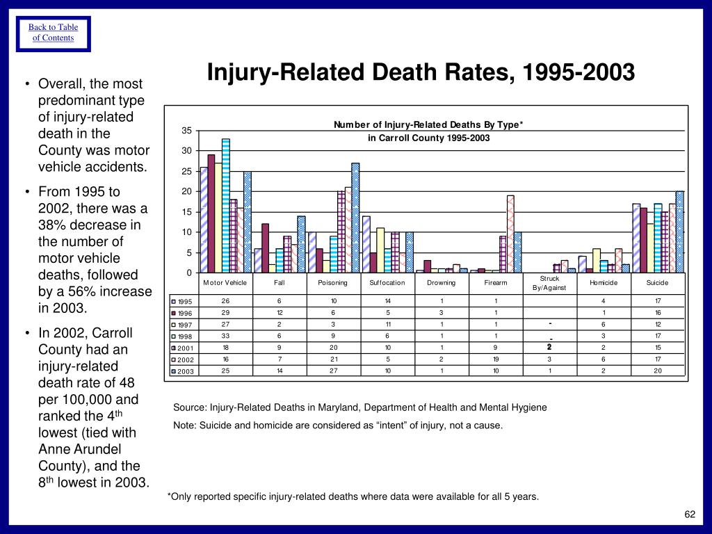 Injury-Related Death Rates, 1995-2003