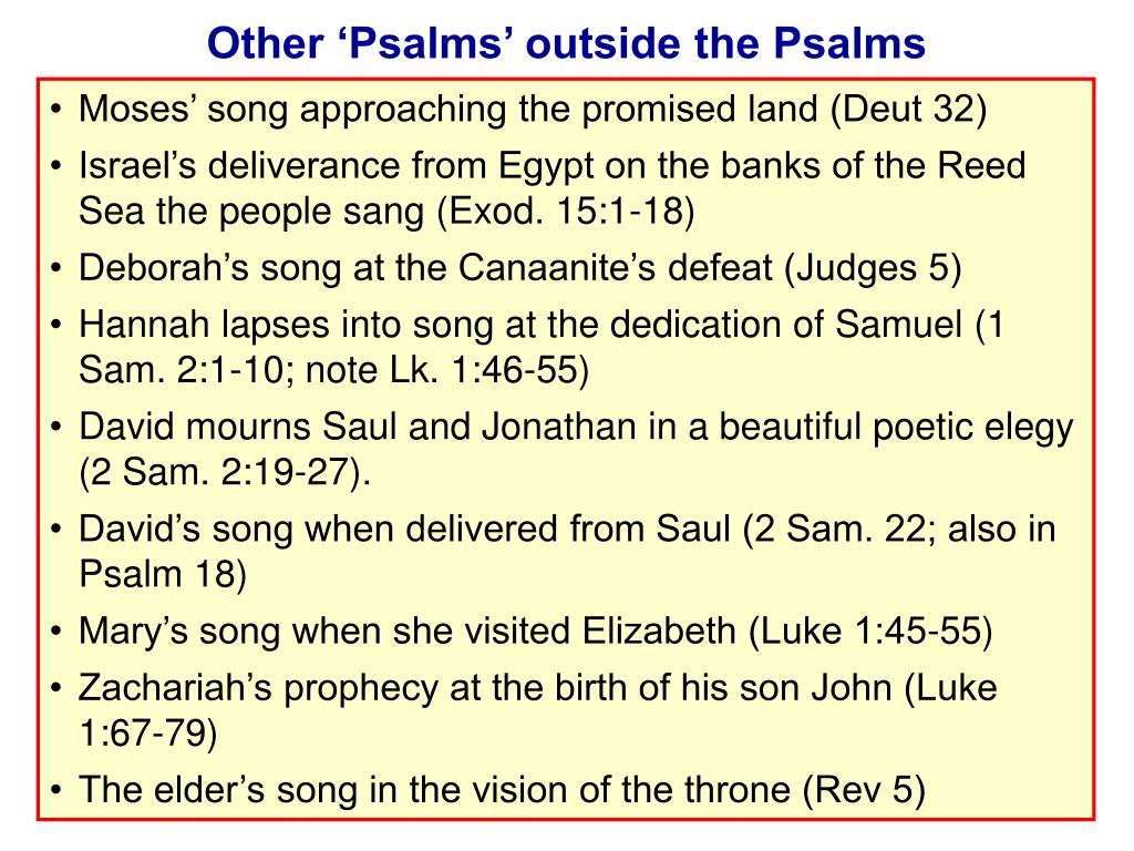 Other 'Psalms' outside the Psalms