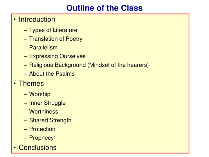 Outline of the class