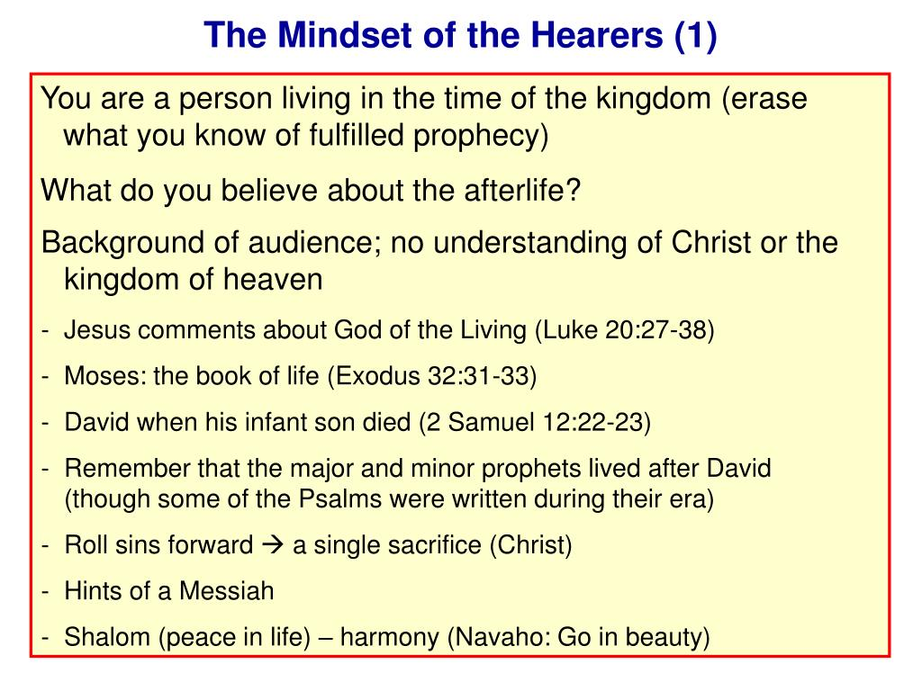 The Mindset of the Hearers (1)