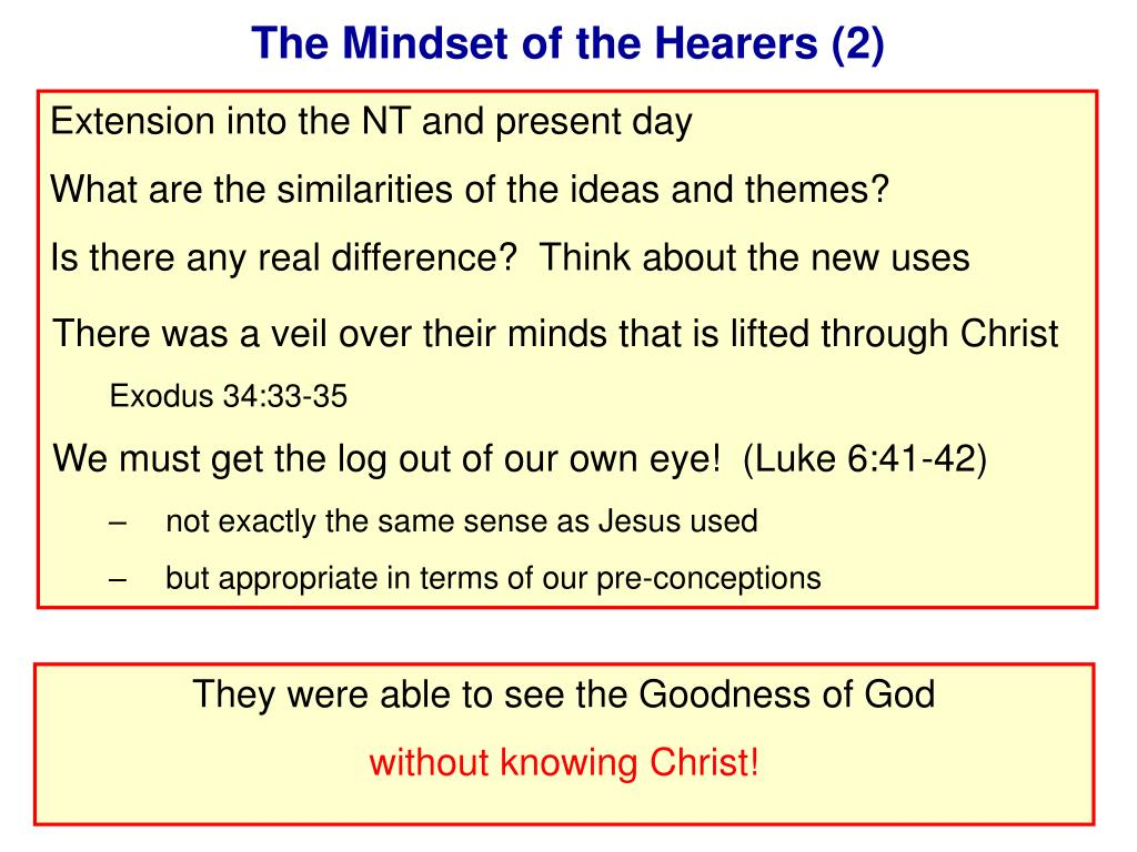 The Mindset of the Hearers (2)