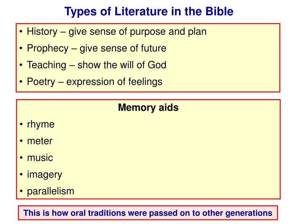 Types of Literature in the Bible