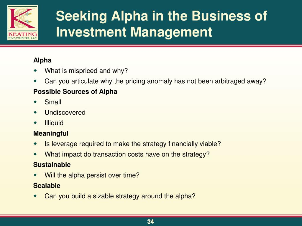 Seeking Alpha in the Business of Investment Management