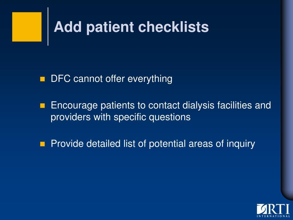 Add patient checklists