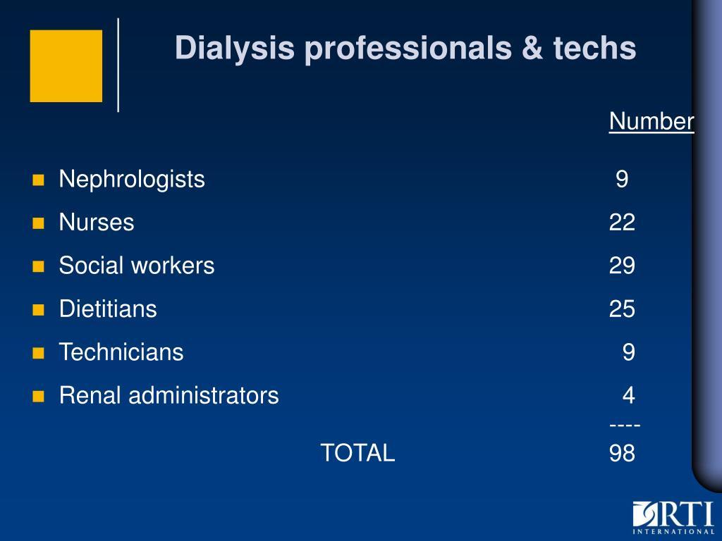 Dialysis professionals & techs