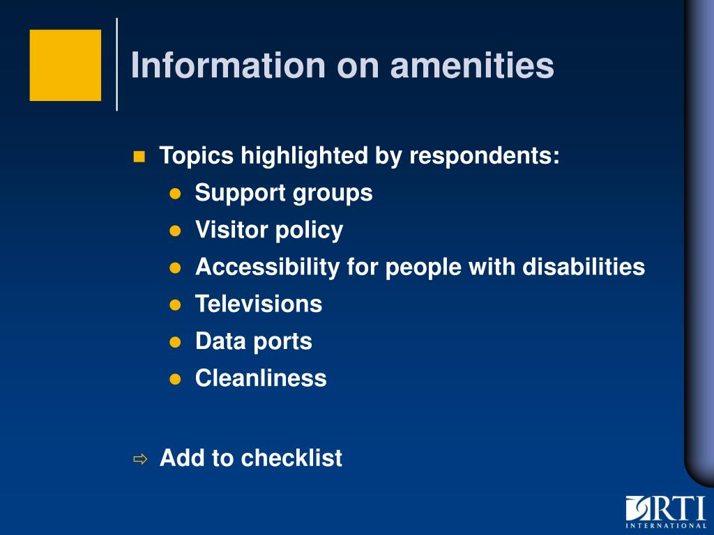 Information on amenities