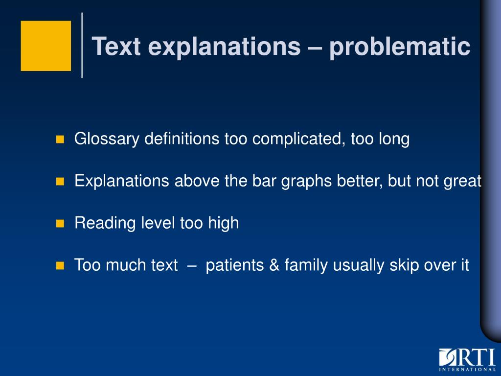 Text explanations – problematic