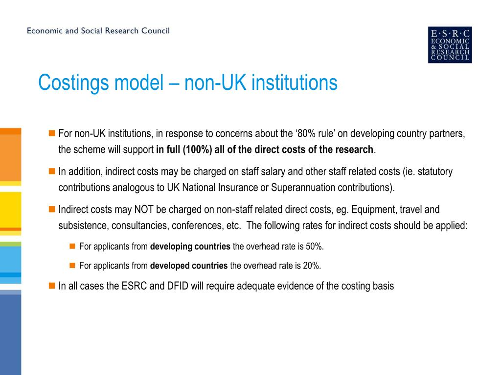 Costings model – non-UK institutions