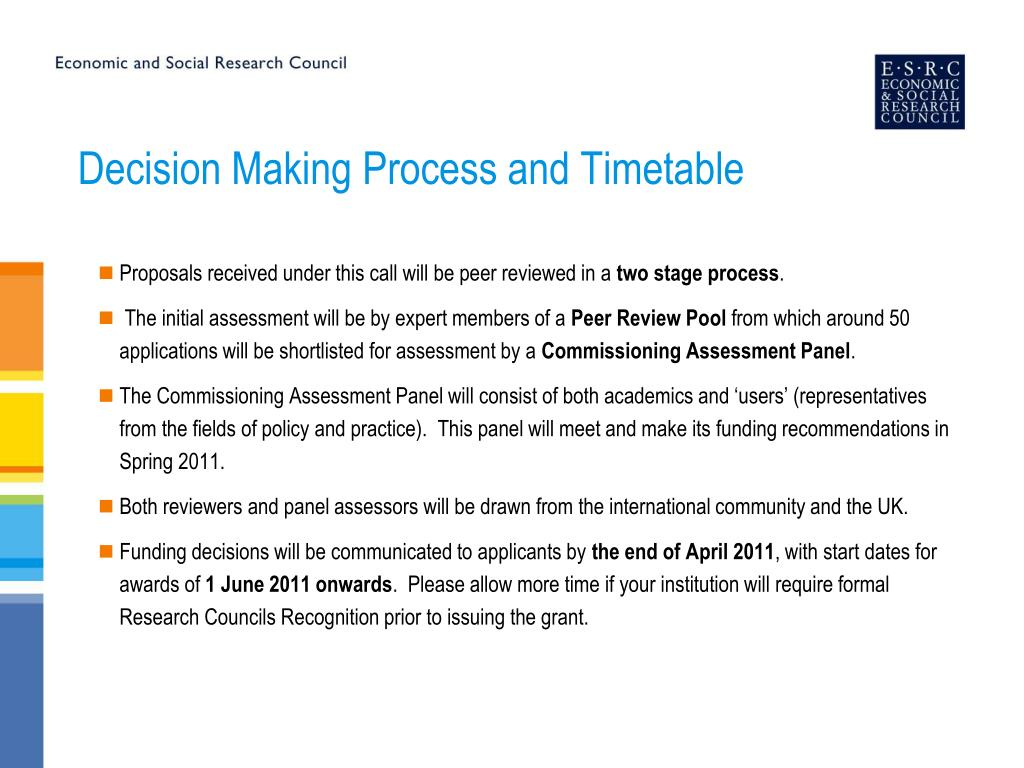 Decision Making Process and Timetable