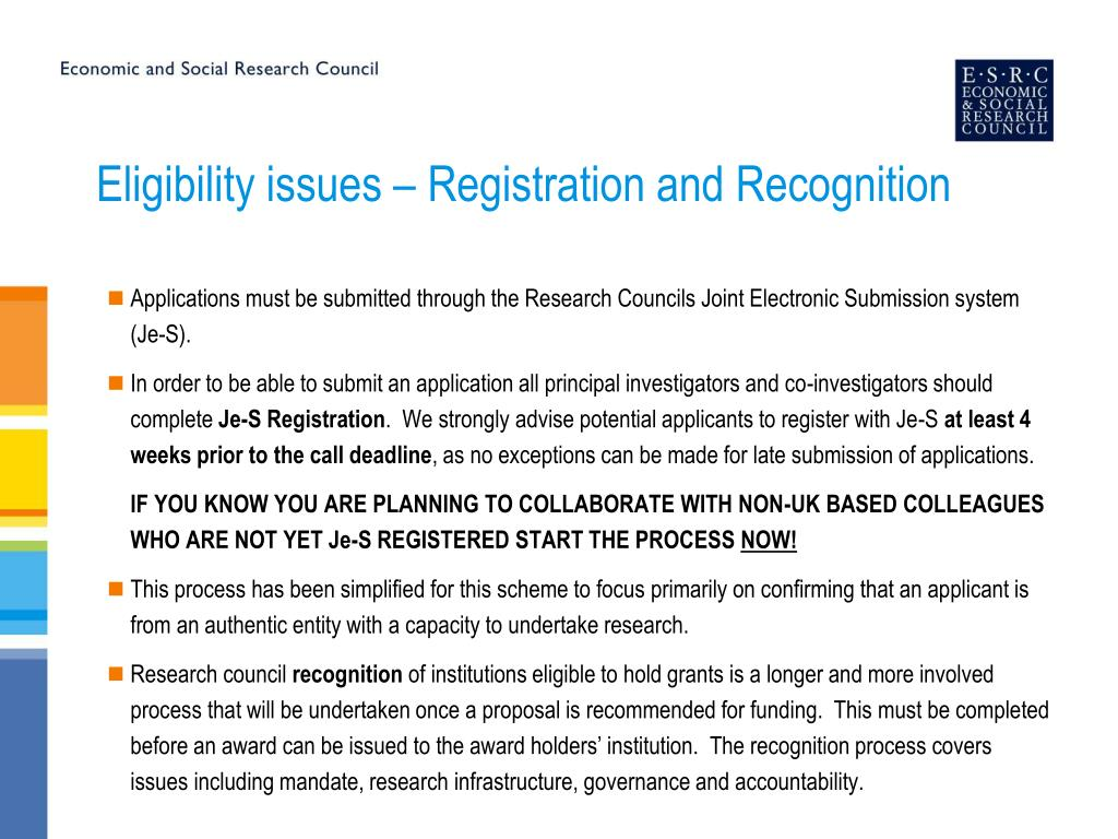Eligibility issues – Registration and Recognition