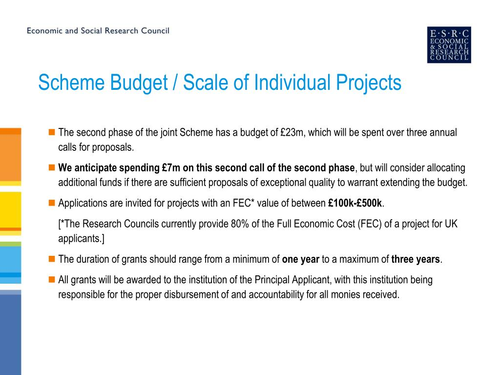 Scheme Budget / Scale of Individual Projects