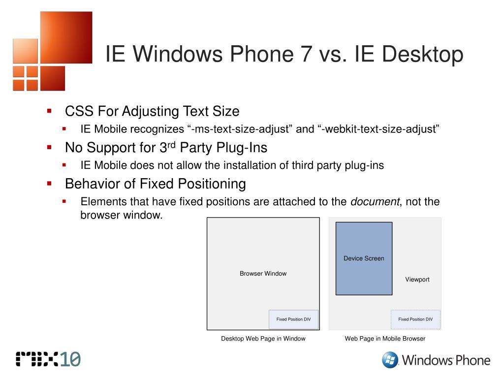IE Windows Phone 7 vs. IE Desktop