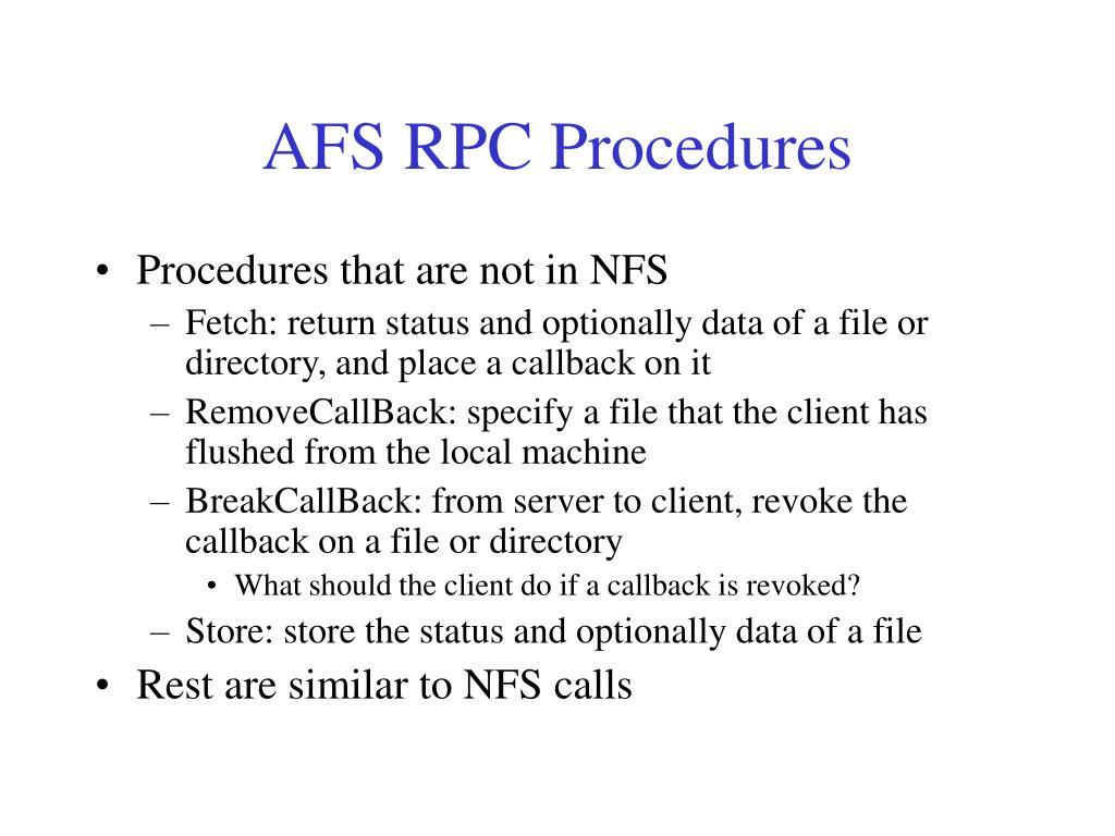 AFS RPC Procedures