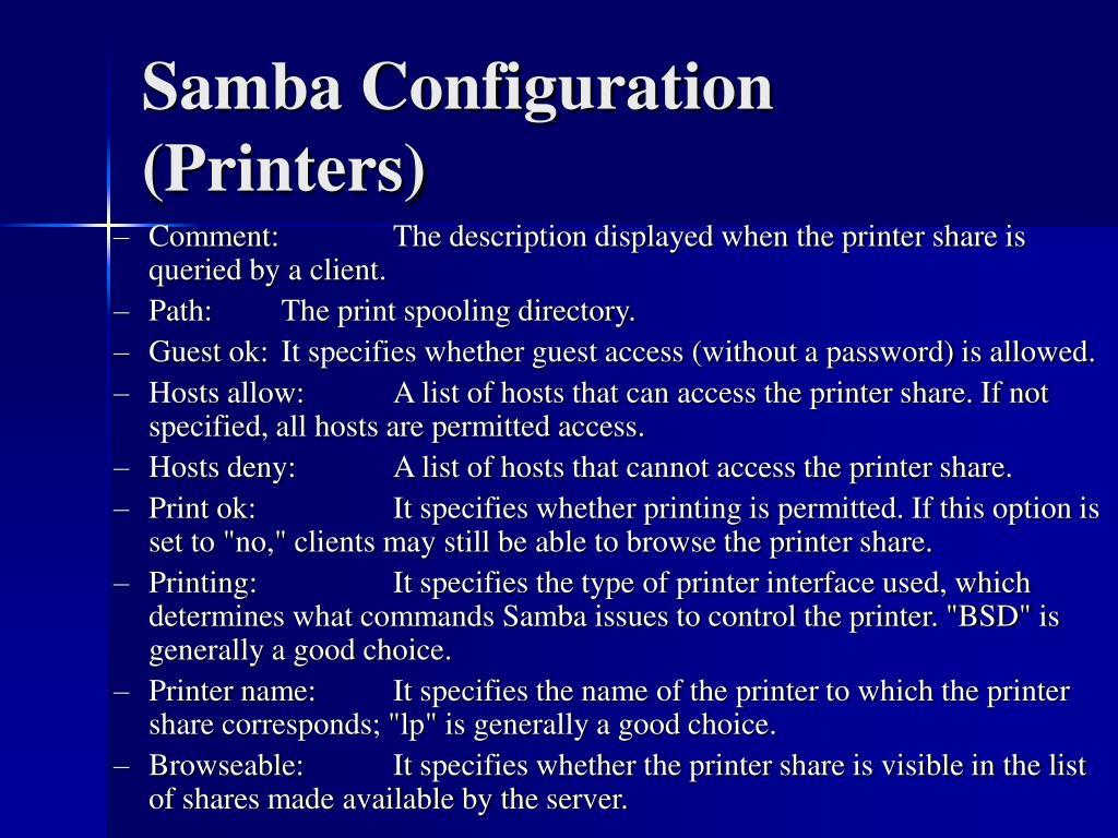 Samba Configuration (Printers)