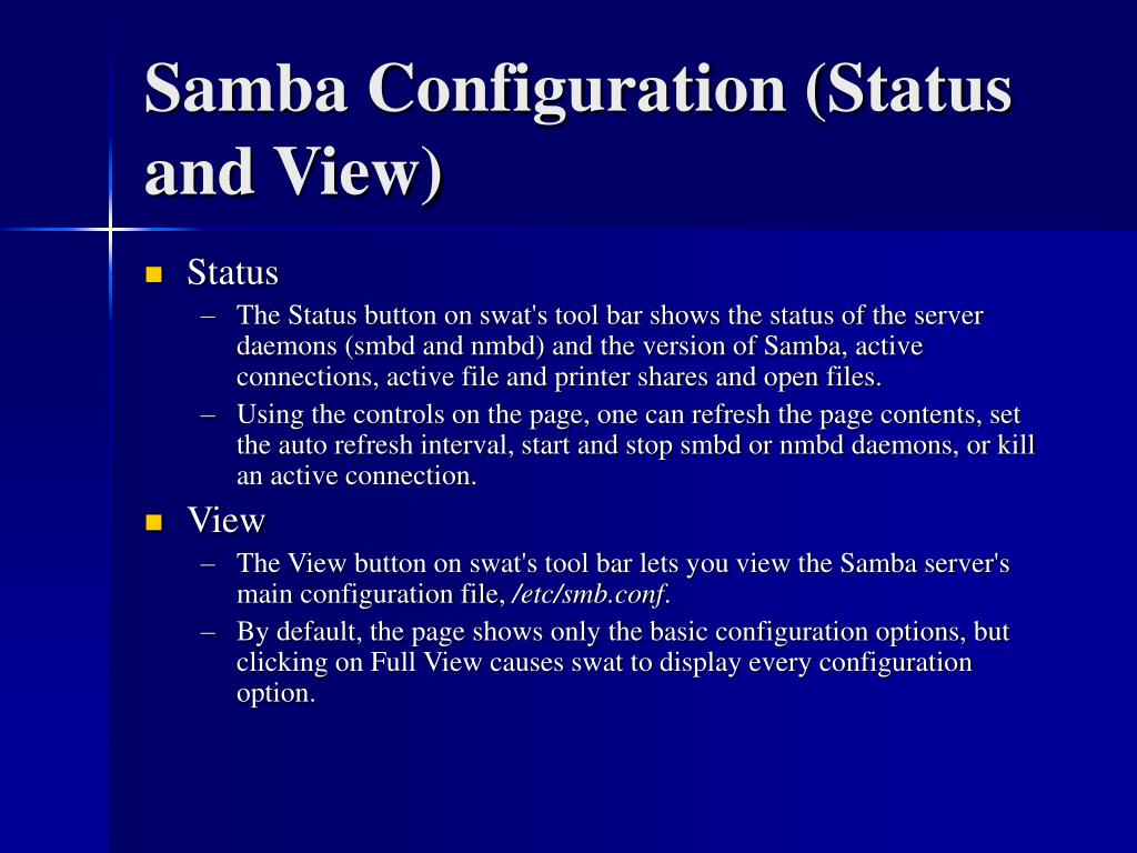 Samba Configuration (Status and View)