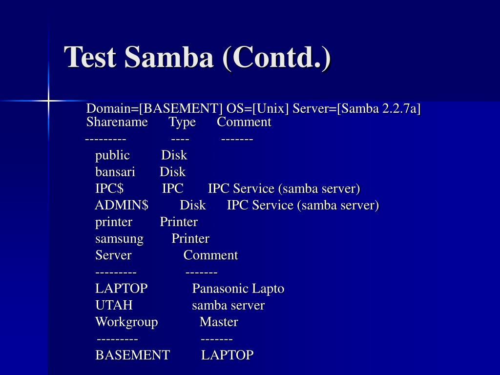 Test Samba (Contd.)