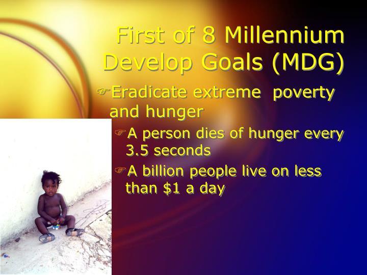 First of 8 millennium develop goals mdg