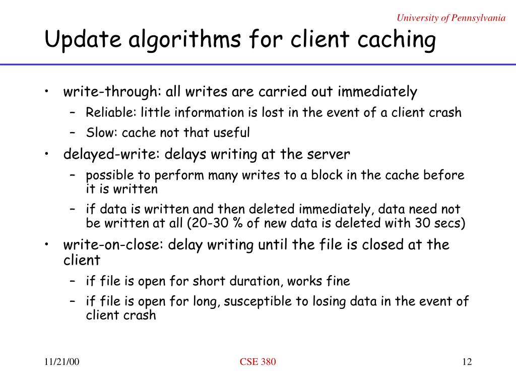 Update algorithms for client caching