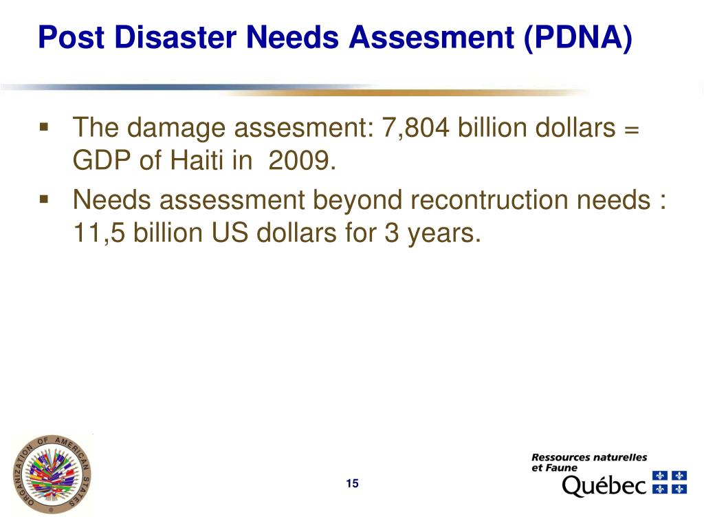 Post Disaster Needs Assesment (PDNA)
